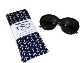 Sunglass Eyeglass Case, Anchor Sunglass Pouch, Blue Fabric Sunglass Case, Sunglass Holder, Eyeglasses Sunglasses Holder, Eyeglasses Case