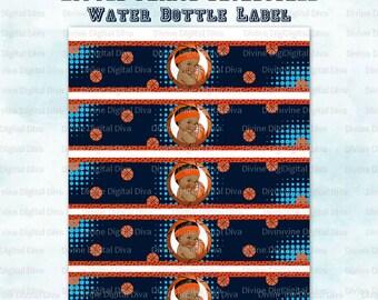 Water Bottle Labels Basketball | Little Prince Vintage African American Baby Boy | Digital Instant Download