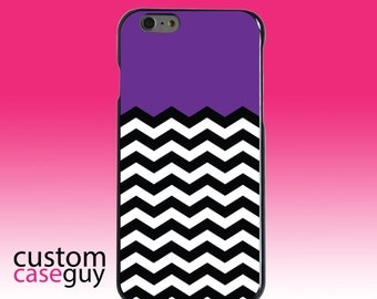 Hard Snap-On Case for Apple 5 5S SE 6 6S 7 Plus - CUSTOM Monogram - Any Colors - Black White Purple Chevron