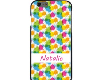 Hard Snap-On Case for Apple 5 5S SE 6 6S 7 Plus - CUSTOM Monogram - Any Colors - Green Yellow Splatter