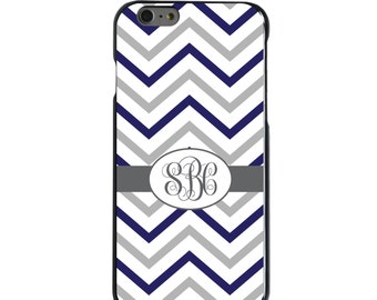Hard Snap-On Case for Apple 5 5S SE 6 6S 7 Plus - CUSTOM Monogram - Any Colors - White Blue Grey Chevron Name