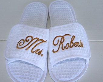 Wedding Slippers Custom Embroidery Brides New Name Custom Embroidery Gifts Under 25 Dollars