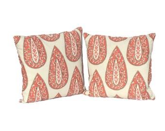 "Decorative Bindi Geranium Pillows covers–  Designer Fabric- 20"" Pillow covers - Hidden Zipper Closure"