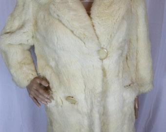 Fur coat off-white rabbit