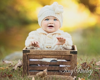 Cable Newborn Hat, Knit Girl Hat, Newborn Knit Beanie, Cream Baby Girl Hat, Knit Cable Hats, Knit Baby Girl Outfit, Winter Baby Girl Hat