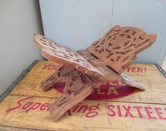 Vintage Wooden Carved Foldable Book or Bible Holder/Stand