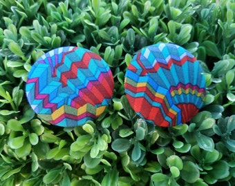 Fanfare- Handmade Fabric Button Earrings