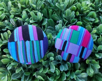 Blue Color Block- Handmade Fabric Button Earrings