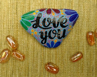PAINTED  STONE / Pebble Art /Dot Painted Stone  / Decorative Rock/ Abstract / LOVE / Original / Paperweight / Love You