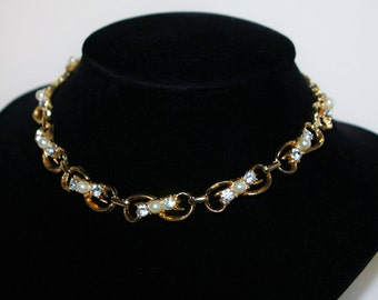 Vintage Rhinestone and Pearl Bead Necklace