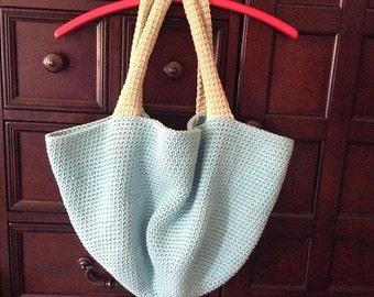Hand Crocheted Women's Large Beach Tote Bag Sea Spray Blue