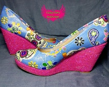 Light sugar -fabric and glitter wedge customised shoes
