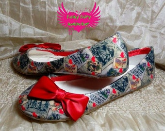 Vintage Alice's - ballet flats with cutome designsed fabric