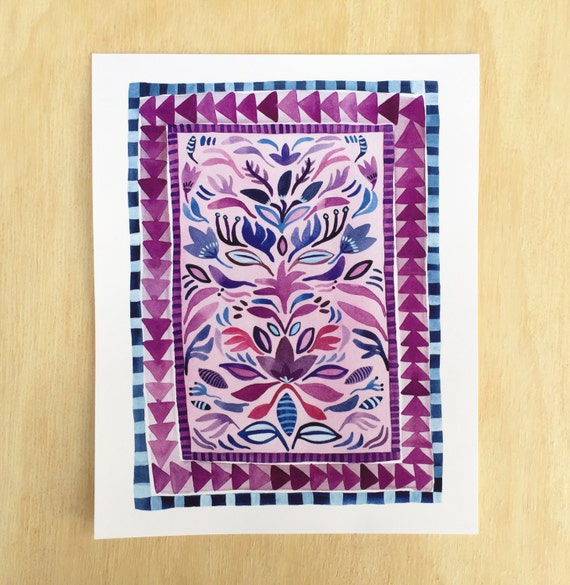 Pink And Navy Rug Design // Archival Art Print Of By