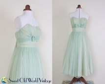 Vintage 50s Mint Green Wedding Gown    Ankle Length    Tulle    Sweetheart Bodice    1950s    Cocktail Dress with Train    Small, Size 8