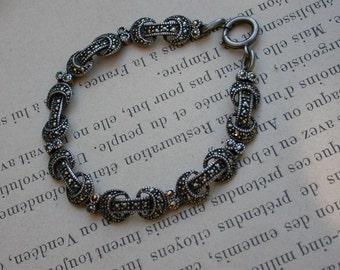 French antique art deco articulated sterling silver  bracelet  stampe marcasite gemstone black diamond