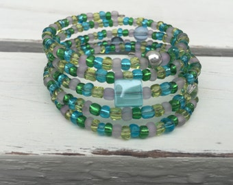 Blue Green and Yellow Glass Beaded Wrap Bracelet