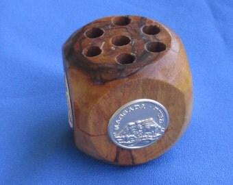 Vintage Olive Wood Pencil Holder Holy Land Souvenir