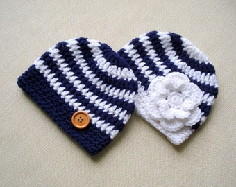 Twin newborn hats, Twin boy and girl hats, Twin photo props, Baby boy girl twins hats, Newborn twin hats, Baby hat for twins, Baby gifts