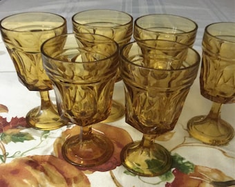 Anchor hocking, vintage Fairfield amber goblets; set of six.