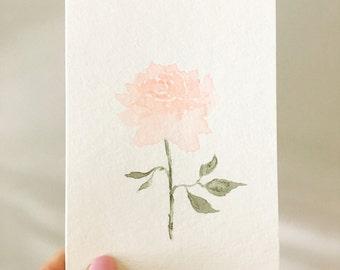 Handpainted watercolor rose greeting card