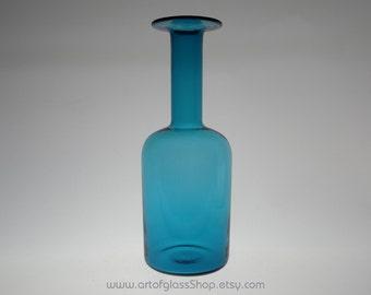 "Cascade/Holmegaard 10"" tall kingfisher blue glass gulvase/gulvvase"