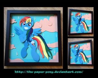 "12"" x 12"" Wet Mane Rainbow Dash Shadowbox"