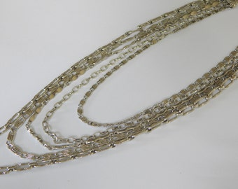 Vintage Silver Tone Five Strand Multi Layered Long Chain Necklace