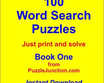 100 Word Search Puzzles in PDF Format *Book One* Ready to Download