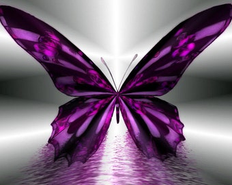 Beautiful Violet Butterfly Cross Stitch Pattern - 14 or 18 ct. Aida