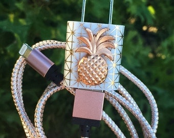 Rose Gold Geometric Pineapple iphone 5 6 7 Charger