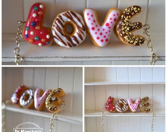 Donut ''LOVE'' necklace,Donut necklace,Custom word donut necklace,Polymer clay necklace