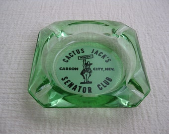Vintage 1970's Cactus Jack's Senator Club Green Glass Souvenir Ashtray Carson City Nevada