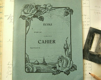 Vintage French notebook - Unused school notebook from France - Antique blue exercise cahier - 1950s