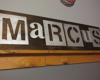 Custom Wood Name Sign (Metal Letters)