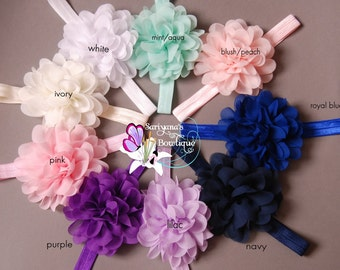 U Pick - Chiffon Lotus Flower Headband, Single Flower Headband, Flower Clip, Soft Airy Flower - SB-052LS