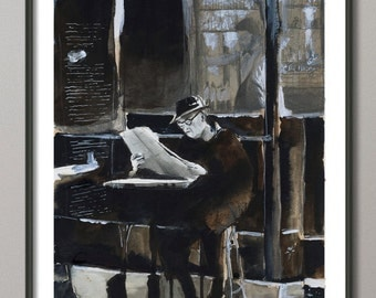 Old man cafe Paris Painting, Watercolor, Poster France, Giclee print , Modern wall art