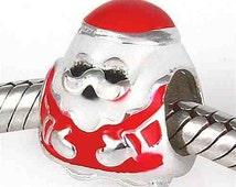1piece - Bead Sterling Silver 925 Christmas Red Santa Charms Beads, Pandora bracelet