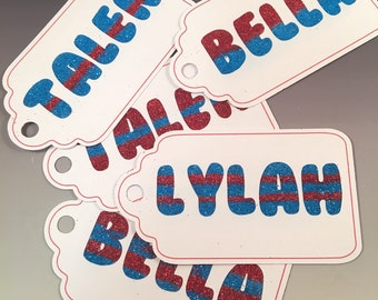 Gift Tags with Glitter Names -
