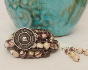 Gorgeous 3 Wrap Bracelet with Brown & Cream Zebra Beads.  Comes with matching Earrings!