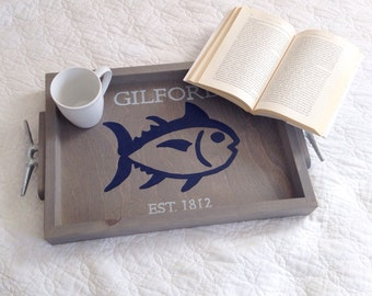 Personalized Wooden Tray - fish wooden tray, nautical wedding gift, fishing decor, personalized lake house decor, fishing gift
