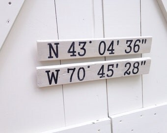 Personalized GPS Coordinates Signs - Lake House decor, Beach House decor, Beach House sign, nautical sign