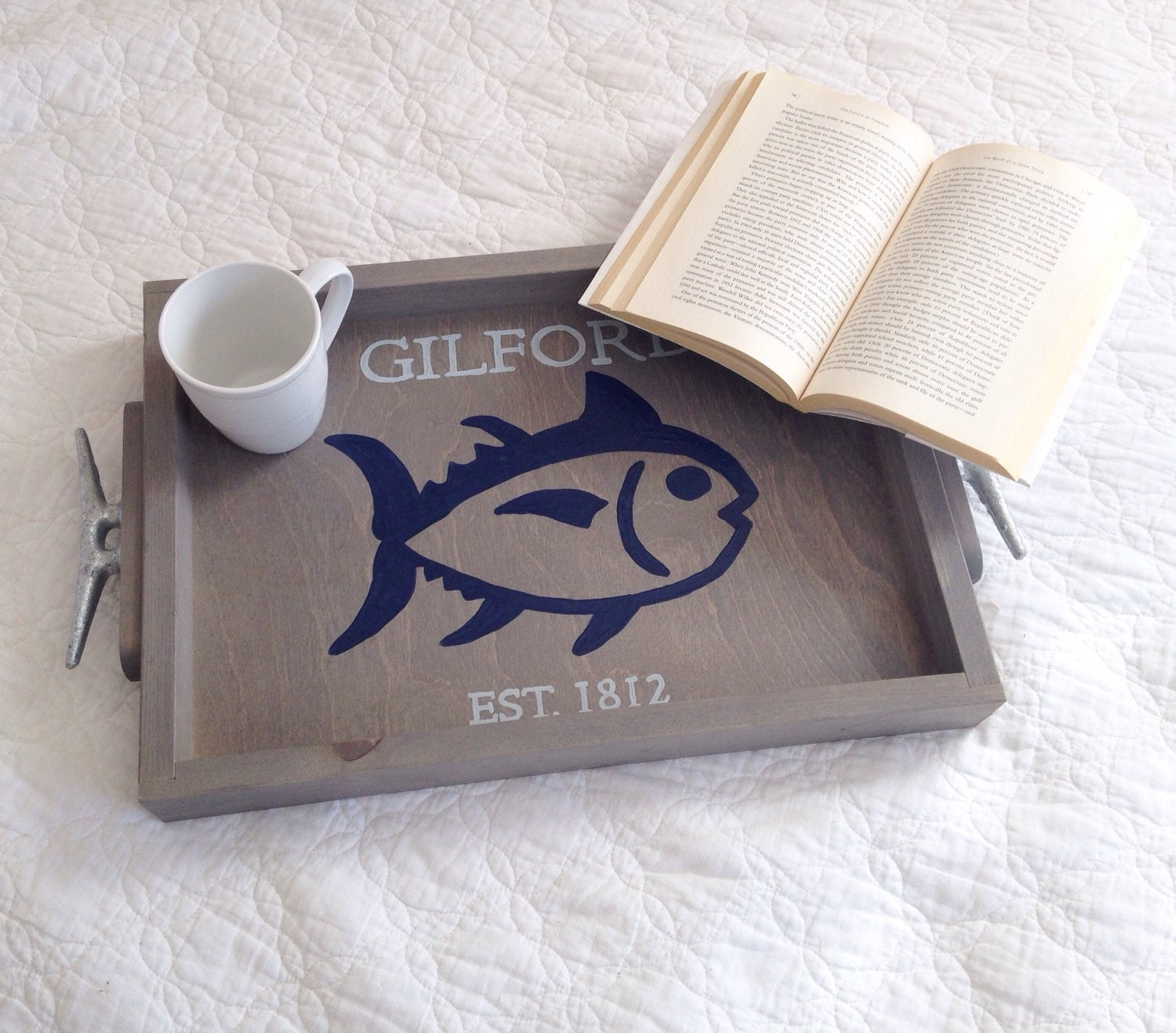 Personalized fish wooden tray nautical wedding gift fishing for Unique fishing gifts