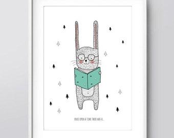 Printable Nursery Art, Kids Room Art, Rabbit Illustration, Nursery Art