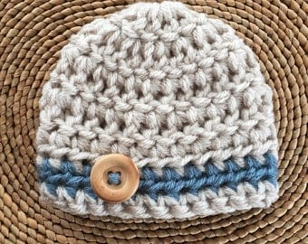 Crochet baby boy hat newborn boy coming home outfit baby boy clothes newborn boy hat newborn photo prop preemie infant boy hat baby boy gift