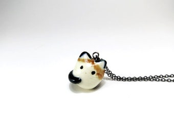 Calico Cat Necklace Calico Charm Ceramic Pendant Calico Cat Gift Cat Jewelry Tricolor Cat Mike Neko Cat Lover Cat Pendant Fat Cat Charm Pet