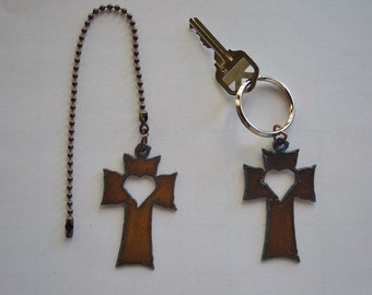 Rustic Rusty Rusted Recycled Metal CROSS with HEART Cutout Ceiling Fan Pull / Light Pull or Key Chain / Personalized Keychain