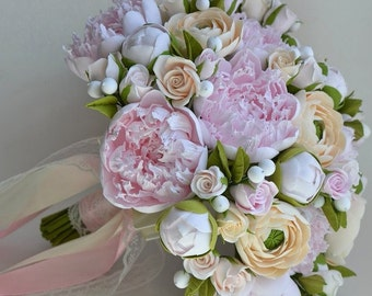 Gentle air bouquet with peonies from polymer clay