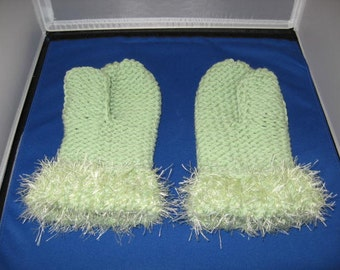 Seafoam Green Mittens with Fun Fur Cuffs