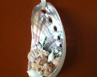 Pearlized Abalone Seashell Ornament - Ready to Ship!